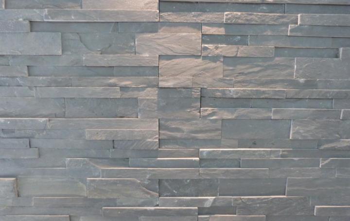 parement mural ardoise noire 60x15x1,5-3cm